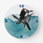 Boys BMX Bike Stunt Blue Grunge Art Wall Clock