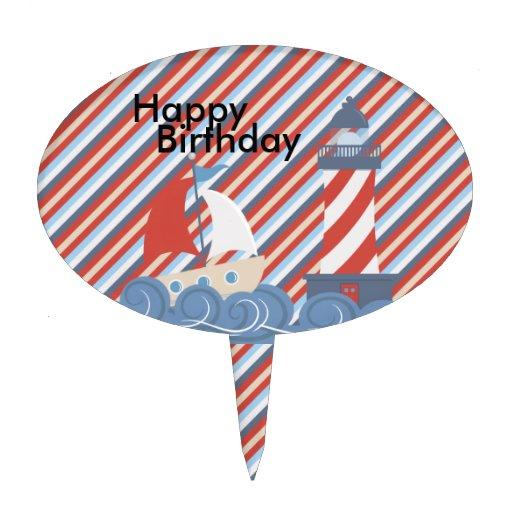 Boys boat and lighthouse happy birthday cake pick zazzle