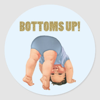 Boys Bottoms Up Baby Shower Classic Round Sticker