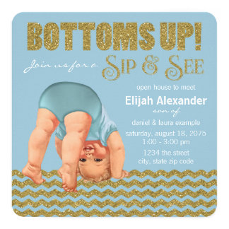 Boys Bottoms Up Sip and See Card