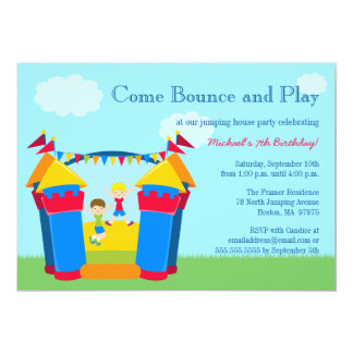 Boy's bounce house birthday party invitation