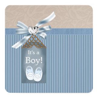 Boys Brown Blue Pinstripe Baby Shower Card