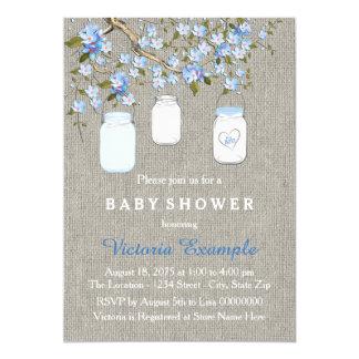 Boys Burlap Baby Shower Card