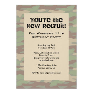 Boys Camo Army Invitations