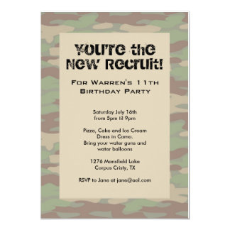 Boys Camo Army Invitations