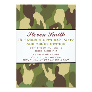 Boy S Camo Birthday Invitation
