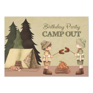 Boys Camp Out Birthday Party 5x7 Paper Invitation Card