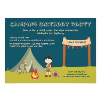 Boy's camping birthday party invitations