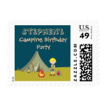 Boy's camping birthday party postage stamps