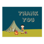 Boy's camping birthday party thank you cards postcards