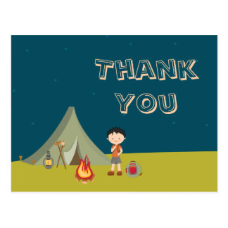 Boy's camping birthday party thank you cards postcard