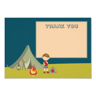 Boy's camping birthday party thank you flat cards custom invitations
