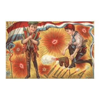 Boys Cannon Fireworks Firecracker Canvas Print