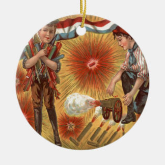 Boys Cannon Fireworks Firecracker Double-Sided Ceramic Round Christmas Ornament