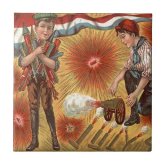 Boys Cannon Fireworks Firecracker Tile