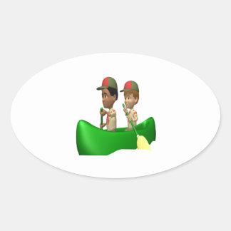 Boys Canoeing Oval Sticker