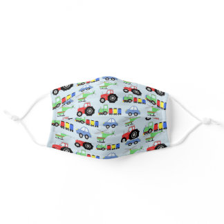 Boys Car Train Tractor Helicopter Pattern Kids Adult Cloth Face Mask
