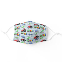 Boys Car Train Tractor Helicopter Pattern Kids Cloth Face Mask