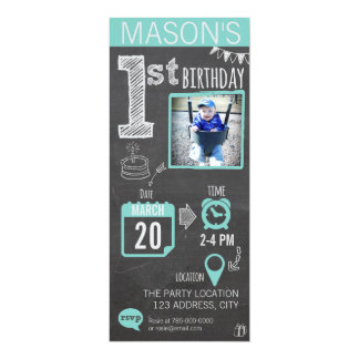 Boy's Chalkboard 1st Birthday Invitation
