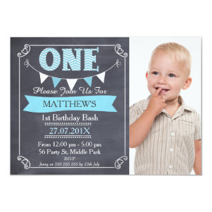 Chalkboard 1st birthday invitations zazzle boys chalkboard bunting 1st birthday invitation filmwisefo
