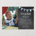 """Boys chalkboard bunting birthday thank you card<br><div class=""""desc"""">Send your friends and family a wonderful thank you message with these customisable birthday thank you cards. Girl version also available in this style.</div>"""
