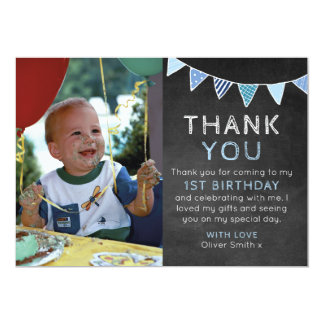 Boys chalkboard bunting birthday thank you card