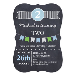 Boys Chalkboard Bunting Flag Birthday Invitation