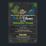 """Boys Chalkboard Dinosaur Baby Shower Invitations<br><div class=""""desc"""">Design Description An EXCLUSIVE original design by MonkeyHutDesigns. &#160; Featuring adorable dinosaurs on a chalkboard background. Features: shades of BLUE, GREEN and TAN color theme. Wonderful theme for a boy! USE the Customize it! button to change fonts and layout of wording&#160; In order to be able to change fonts/font colors/size,...</div>"""