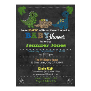 Boys Chalkboard Dinosaur Baby Shower Invitations at Zazzle