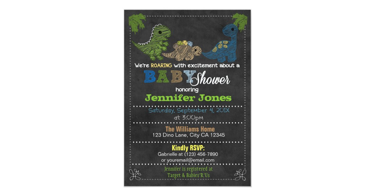 Boys Chalkboard Dinosaur Baby Shower Invitations | Zazzle.com