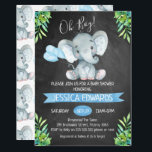 """Boys Chalkboard Elephant Baby Shower Invitation<br><div class=""""desc"""">This chalkboard elephant baby shower invitation features a cute elephant and some balloons on a scanned chalkboard background. The corners of the invitation features some green tropical foliage. I&#39;ve also included a blue banner in the design. This boy&#39;s chalkboard baby shower invitation is ready to be personalized. For more elephant...</div>"""