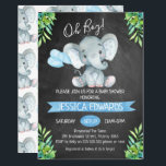 "Boys Chalkboard Elephant Baby Shower Invitation<br><div class=""desc"">This chalkboard elephant baby shower invitation features a cute elephant and some balloons on a scanned chalkboard background. The corners of the invitation features some green tropical foliage. I&#39;ve also included a blue banner in the design. This boy&#39;s chalkboard baby shower invitation is ready to be personalized. For more elephant...</div>"