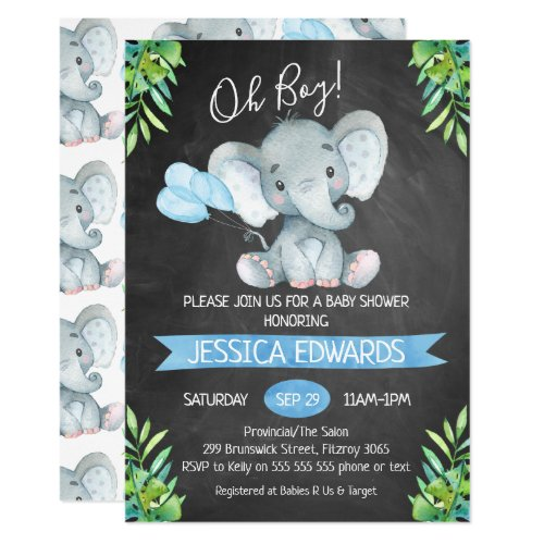 Boys Chalkboard Elephant Baby Shower Invitation