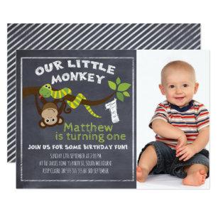 Monkey birthday invitations zazzle boys chalkboard monkey 1st birthday invitation filmwisefo