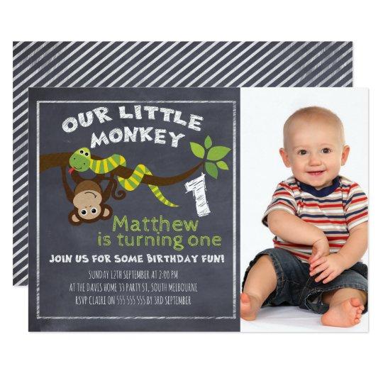 Boys chalkboard monkey 1st birthday invitation zazzle boys chalkboard monkey 1st birthday invitation filmwisefo