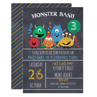 Boys Chalkboard Monster Bash Birthday Invitation