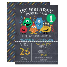 Boys Chalkboard Monsters 1st Birthday Invitation