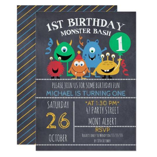 Boys Chalkboard Monsters 1st Birthday Invitation Zazzle Com
