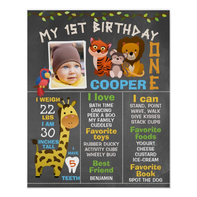 Boys Chalkboard Safari Themed Milestone Poster