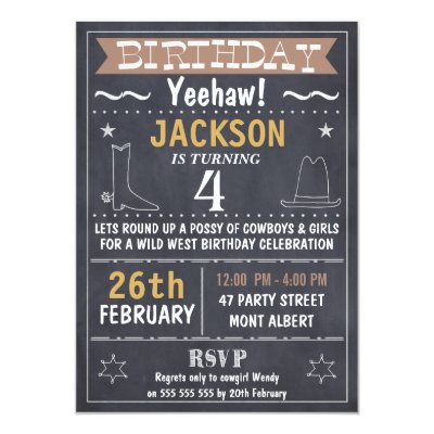 Kids Wild West Wanted Poster Birthday Invitation – Wild West Birthday Invitations