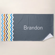 Boys Chevron Gray Blue Orange Pattern Personalized Beach Towel