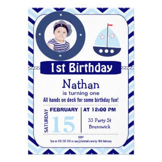 Boys Chevron Nautical Birthday Party Invitation