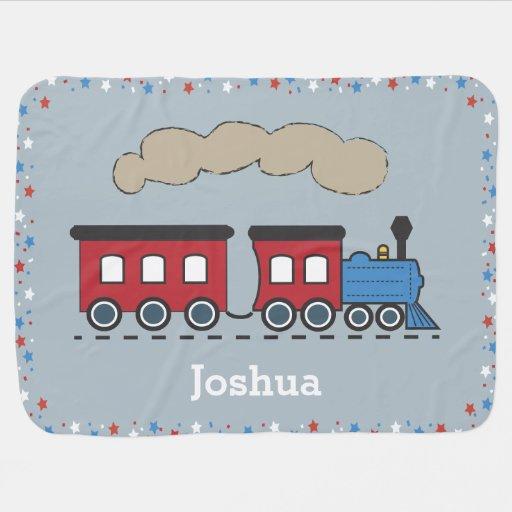Boy's Choo Choo Train Personalized Baby Blanket