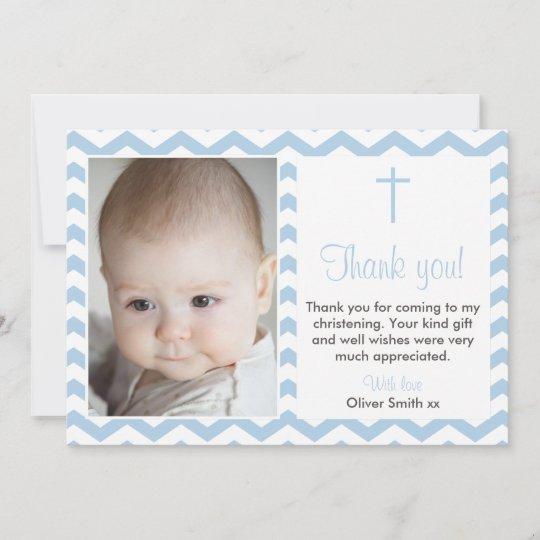 Boys Christening Baptism Thank You Card Zazzle Com