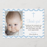 "Boys Christening/Baptism Thank You card<br><div class=""desc"">Send your friends and family a special note to thank them for coming to your big day. Girls version also available in this style.</div>"