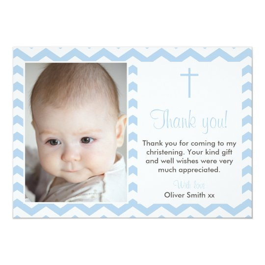 Boys christening baptism thank you card zazzlecom for Baptism thank you card template