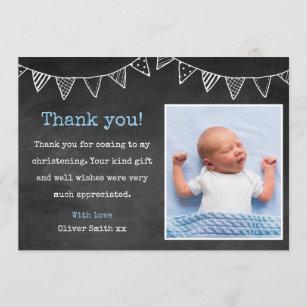 Boys Christening Baptism Thank You Card
