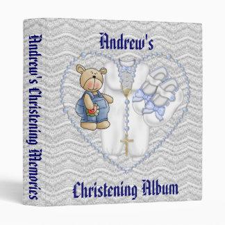 Boys Christening Bear 3 Ring Binders