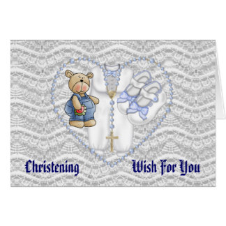 Boys Christening Bear Card