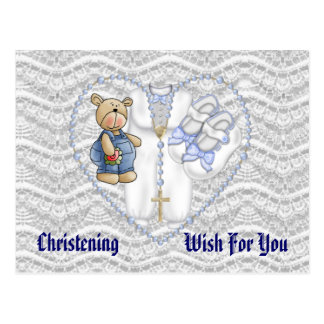 Boys Christening Bear Postcard
